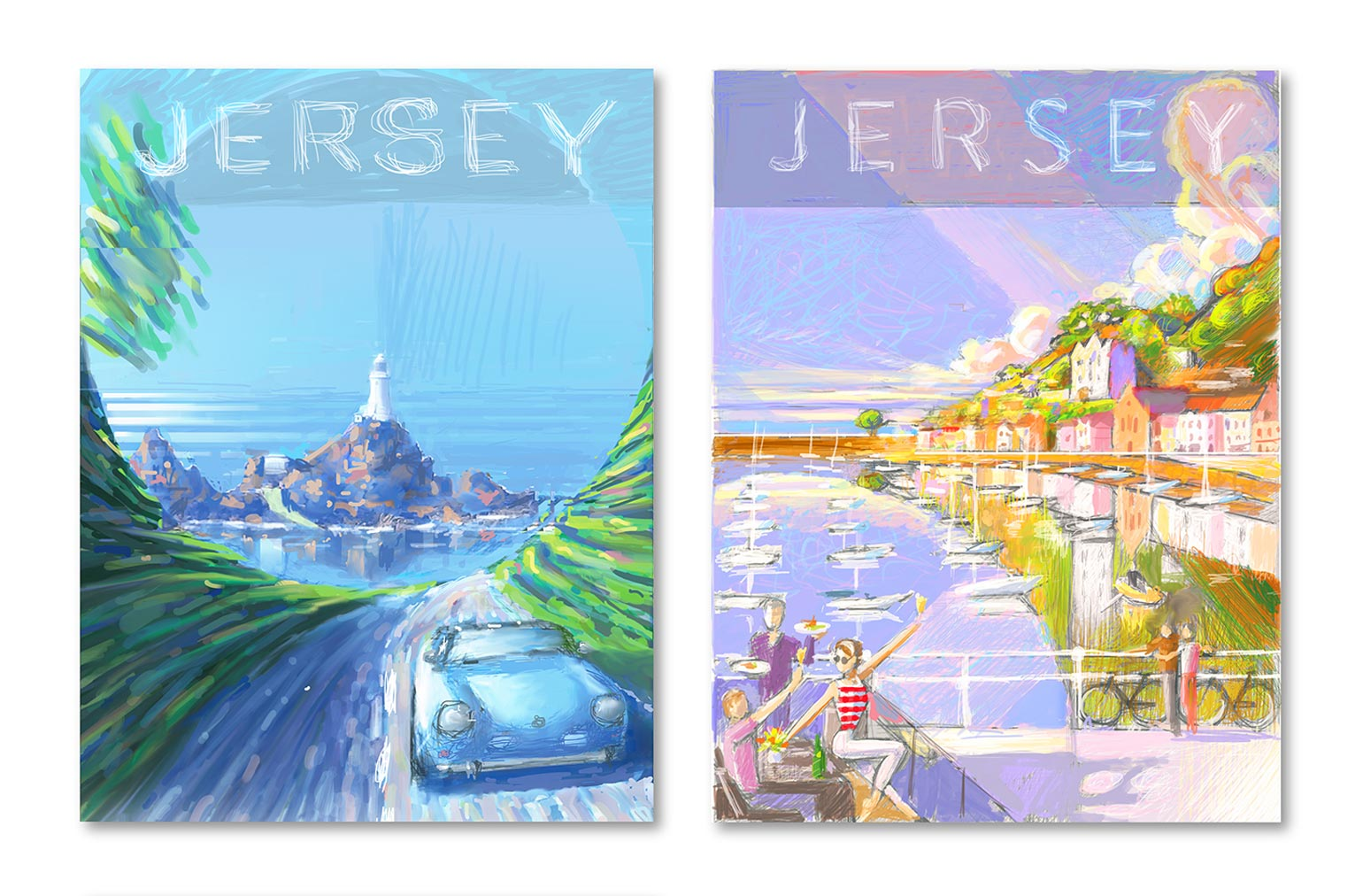 Ron Mills Jersey Travel Poster Series Colour Sketch