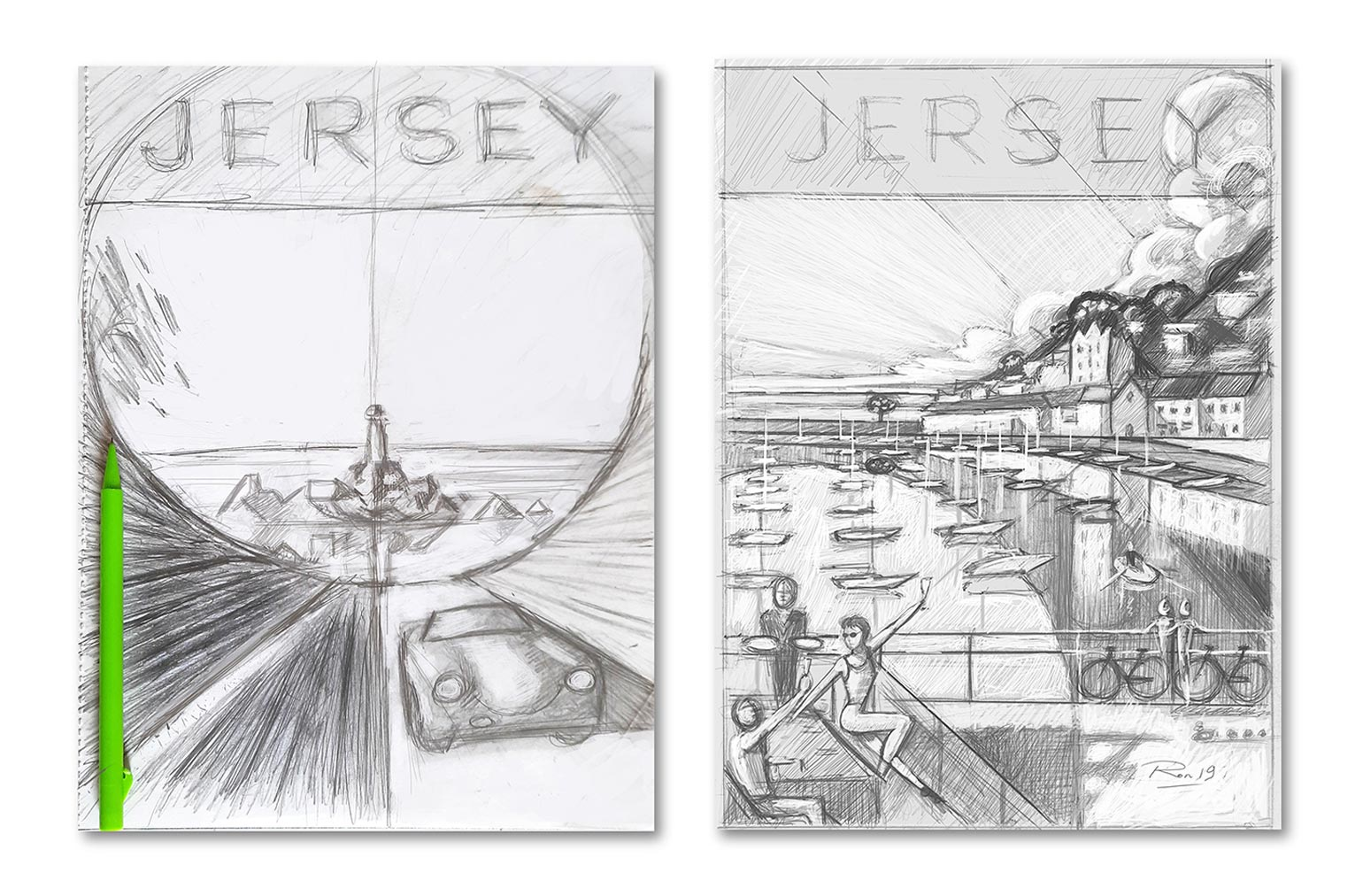 Ron Mills Jersey Travel Poster Series Pencil Sketch